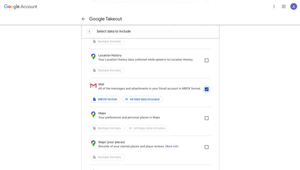 Options Google Takeout