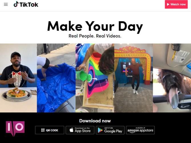 Page de destination du bureau TikTok