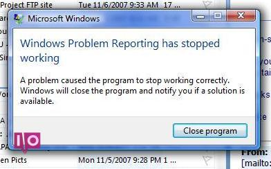 Erreur de rapport de programme Windows