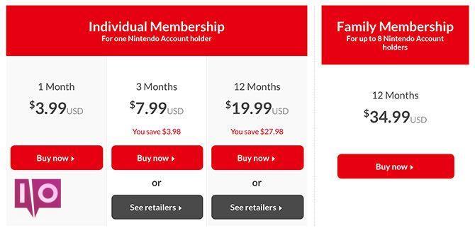 Tarifs en ligne de la Nintendo Switch