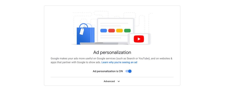 Une capture d'écran de la bascule «personnalisation des annonces» en position «activée».