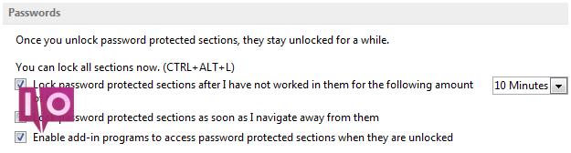 OneNote 2013 Modifier les paramètres de mot de passe