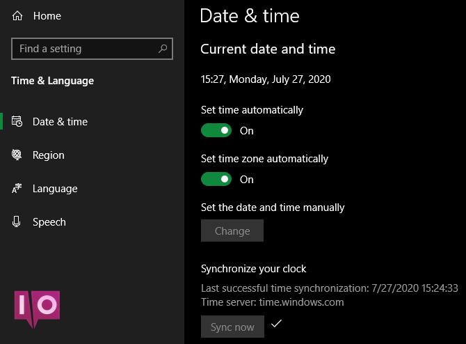 Horloge automatique Windows 10