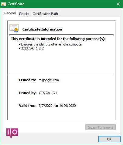 Certificat de site Web Chrome