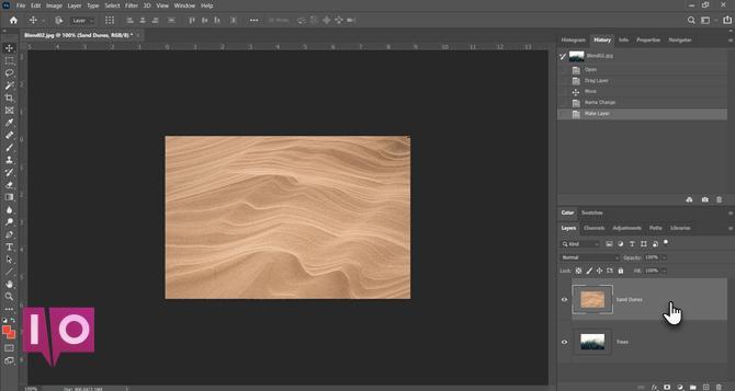 Photoshop combinant des images avec des modes de fusion