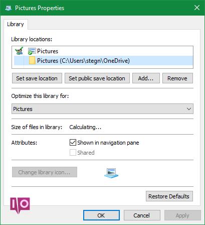 Emplacements des bibliothèques Windows Edit