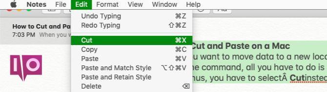 Option Couper dans le menu Edition sur Mac