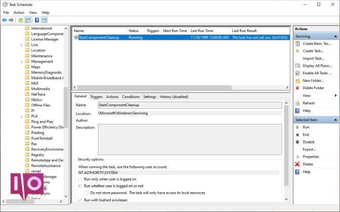 paramètre startcomponentcleanup dans le planificateur de tâches