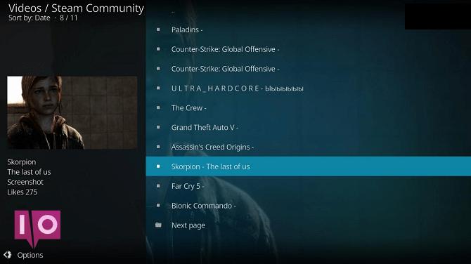 liste de vidéos kodi de la communauté vapeur