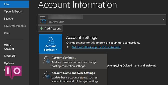 paramètres de compte Outlook