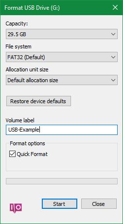 Clé USB au format Windows 10