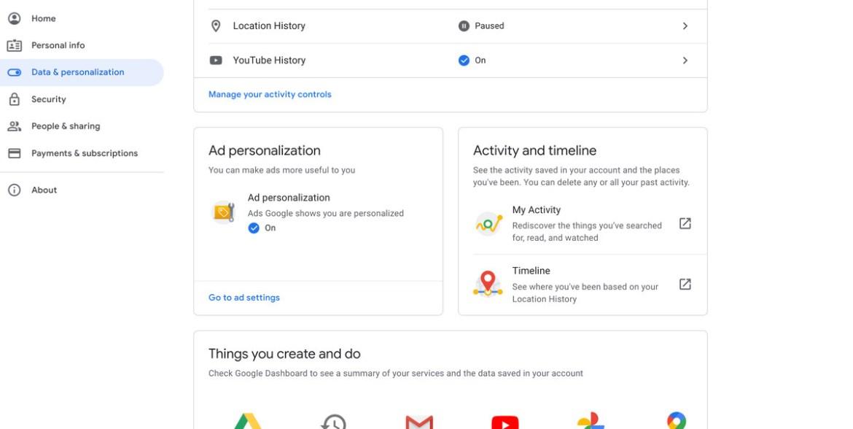 Une capture d'écran de l'onglet Données et personnalisation de Google.