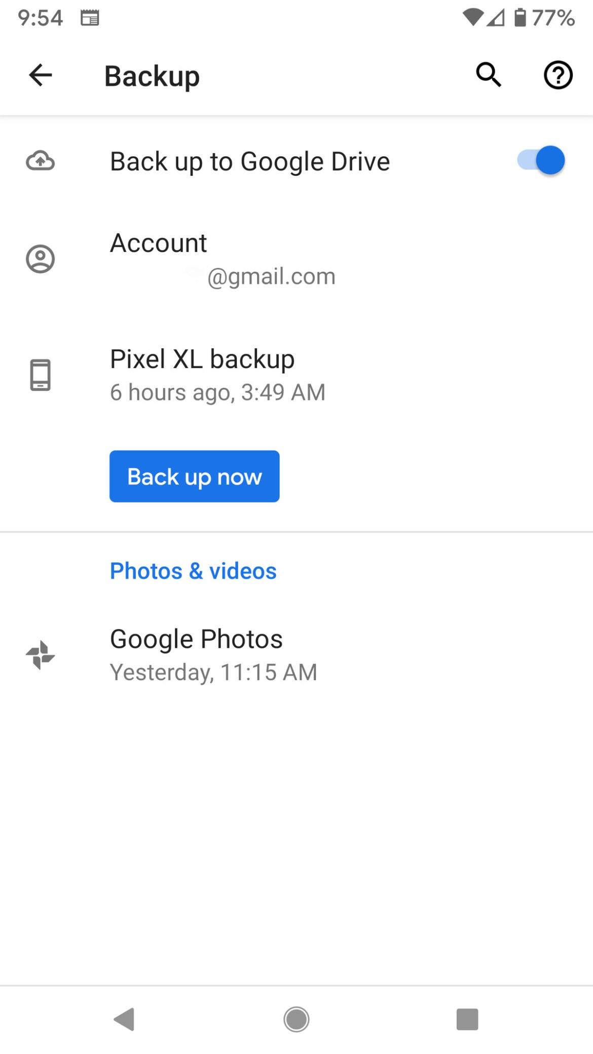 Vous pouvez sauvegarder les données de votre application, l'historique des appels et d'autres informations sur votre Google Drive.