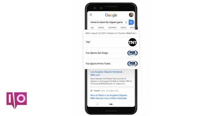 mise à jour des sports de recherche google
