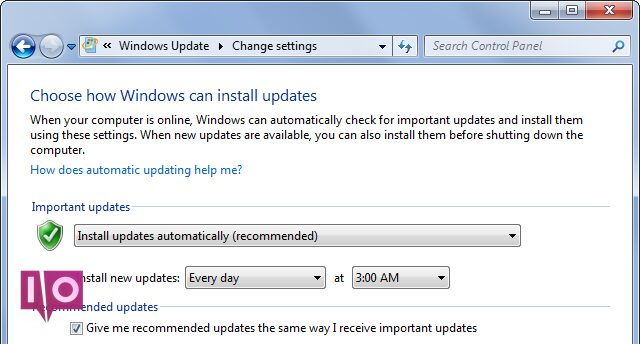 Windows Update important et recommandé