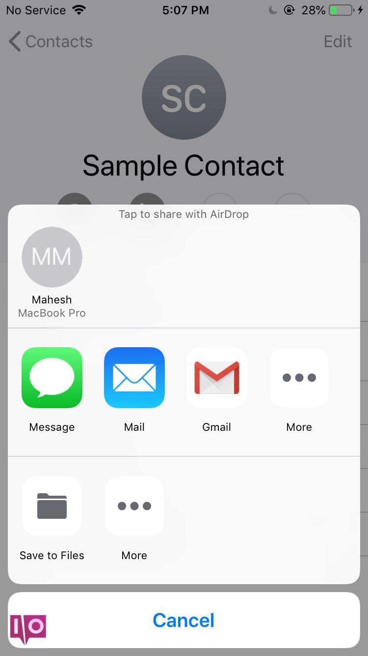 envoyer des contacts par e-mail