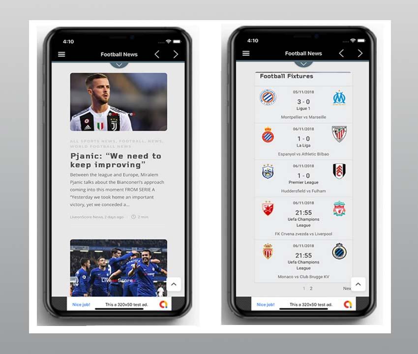 Sports News - Modèle d'application de nouvelles de football