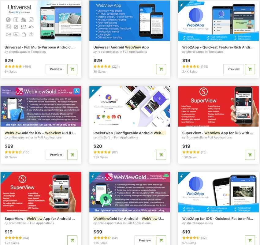 Modèles d'applications WebView les plus vendus sur CodeCanyon en 2020