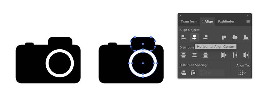 Aligner les détails des caméras dans Adobe Illustrator