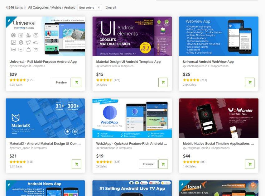 Modèle d'application mobile Android CodeCanyon Meilleures ventes