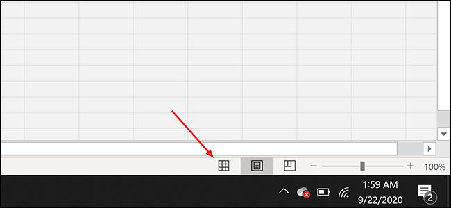 """Cliquez sur le bouton de mise en page """"Normal"""" dans Excel"""