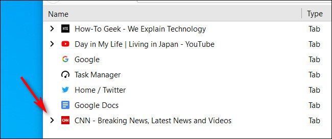 Cliquez sur la flèche à côté d'un onglet dans Firefox Task Manager