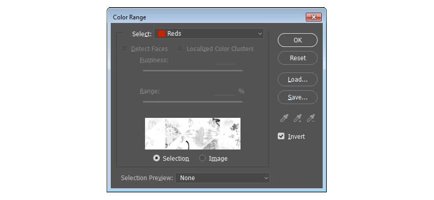 Utilisez la gamme de couleurs pour sélectionner les couleurs non rouges