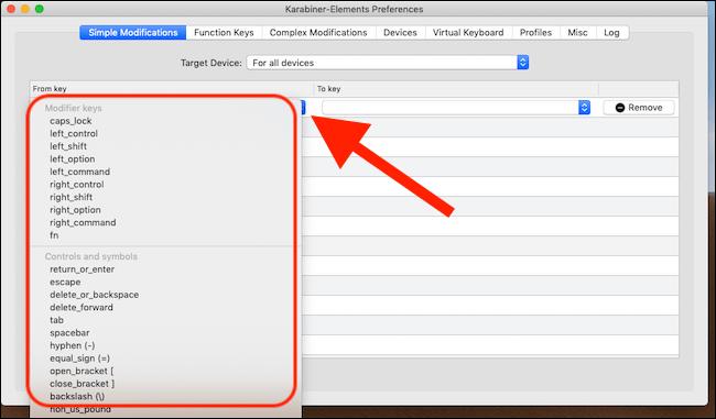 Cliquez sur la case vide dans la colonne De clé.  Sélectionnez la clé dont vous souhaitez modifier le comportement