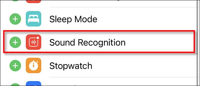 Appuyez sur «Reconnaissance sonore» dans les paramètres du centre de contrôle