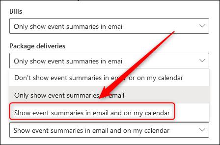 La liste déroulante affichant les différentes options de résumé des événements.