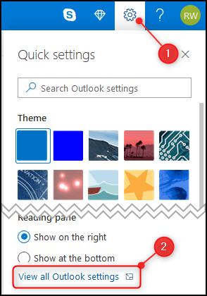 Panneau Paramètres d'Outlook.