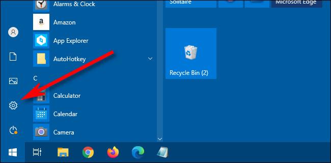 Dans le menu Démarrer de Windows 10, cliquez sur l