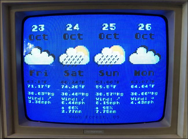 Eine viertägige Wettervorhersage für einen Atari 800.