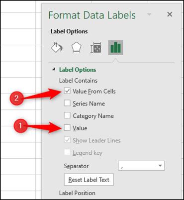 Afficher les valeurs des étiquettes de données à partir des cellules