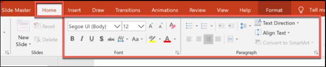 Options de mise en forme dans l'onglet Accueil dans PowerPoint