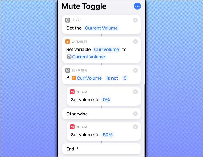"""Le code de raccourci """"Mute Toggle"""" sur un iPhone."""