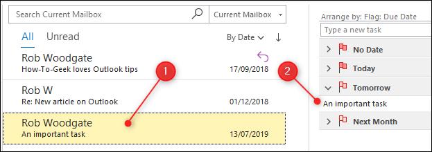 Un e-mail qui a été signalé et qui est maintenant surligné en jaune et apparaît dans la liste des tâches.