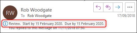 Un e-mail avec l'info-bulle de suivi en surbrillance.