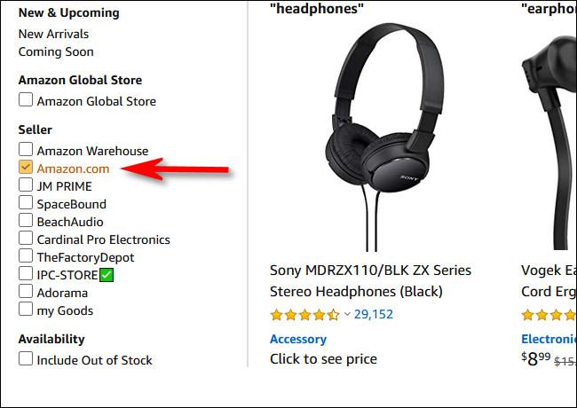 """Cochez la case """"Amazon.com"""" dans la section vendeur de la barre latérale"""