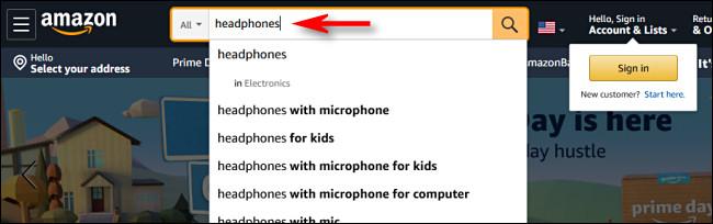 Sur Amazon.com, tapez une recherche et appuyez sur Entrée.