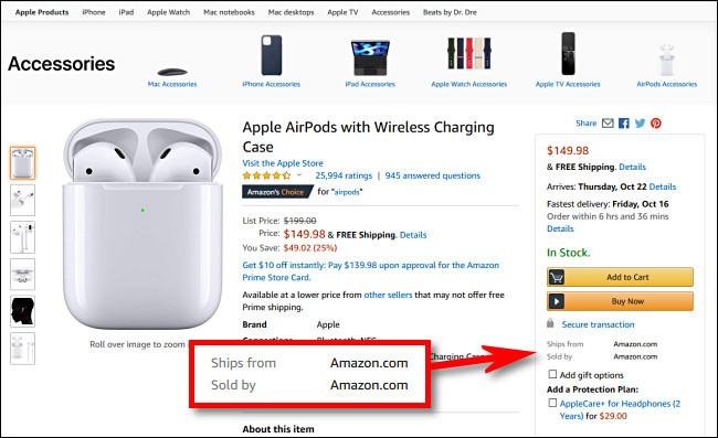 """Dans les produits sur Amazon.com, recherchez les articles indiquant """"Vendu par Amazon.com"""""""