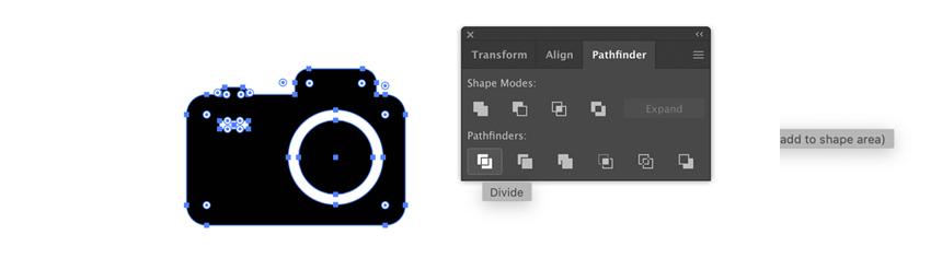 Icône d'appareil photo dans Adobe Illustrator