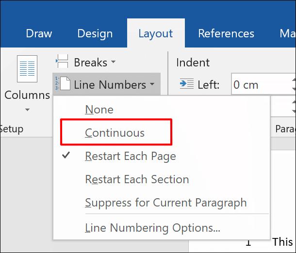 Pour ajouter entièrement des numéros de ligne à un document Word, cliquez sur Disposition data-recalc-dims=
