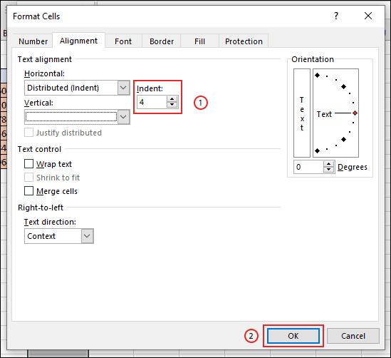 Confirmez l'espacement de retrait de la bordure de votre cellule, puis cliquez sur OK
