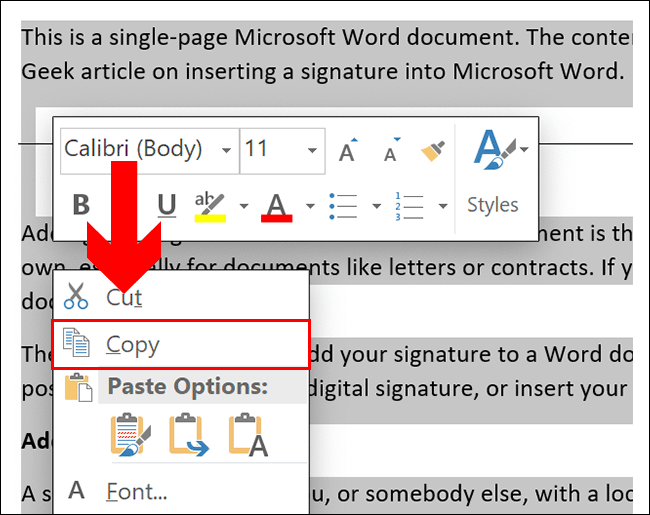 Pour copier dans un document Word, sélectionnez votre contenu, puis appuyez sur Ctrl + C ou cliquez avec le bouton droit et cliquez sur Copier