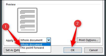 Cliquez sur «This Point Forward», puis sur «OK».