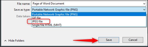 Enregistrer au format JPEG