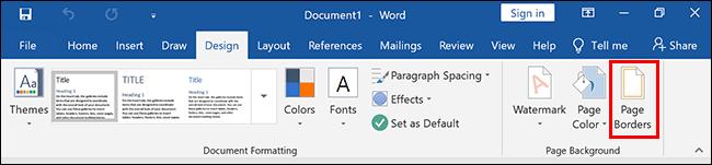 Selon votre version de Word, cliquez sur l'onglet Conception ou Mise en page / Mise en page, puis cliquez sur Bordures de page