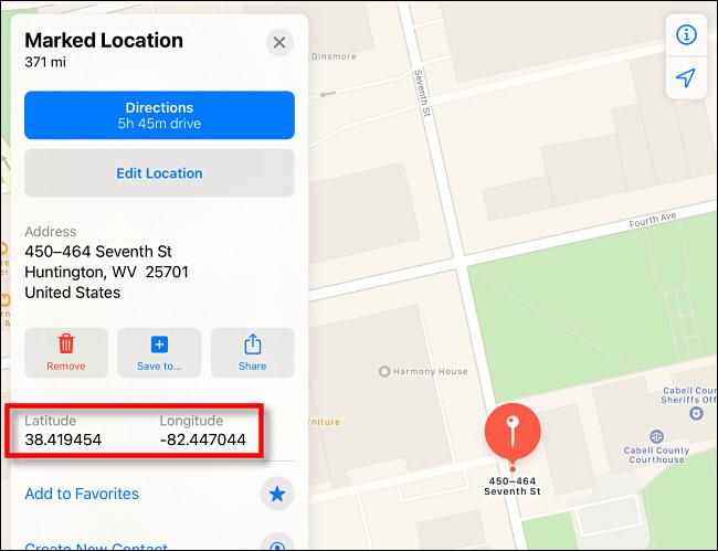Latitude et longitude affichées dans Apple Maps sur iPad