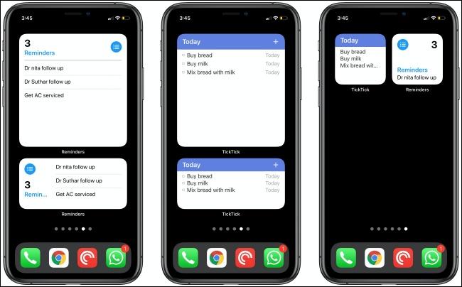 Les rappels et les widgets TickTick sur trois iPhones.